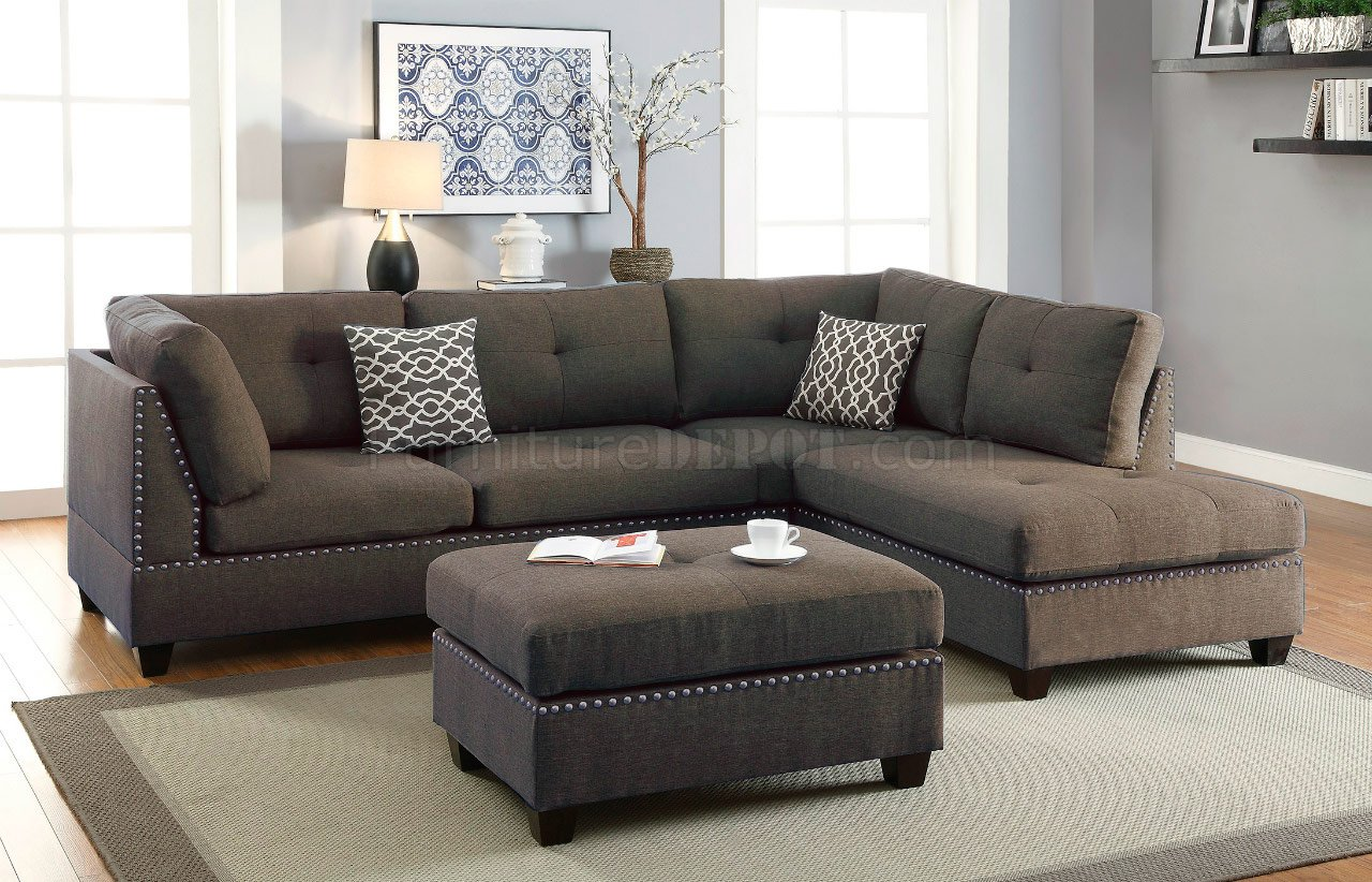 F6975 Sectional Sofa In Linen Like Fabric By Boss W Ottoman