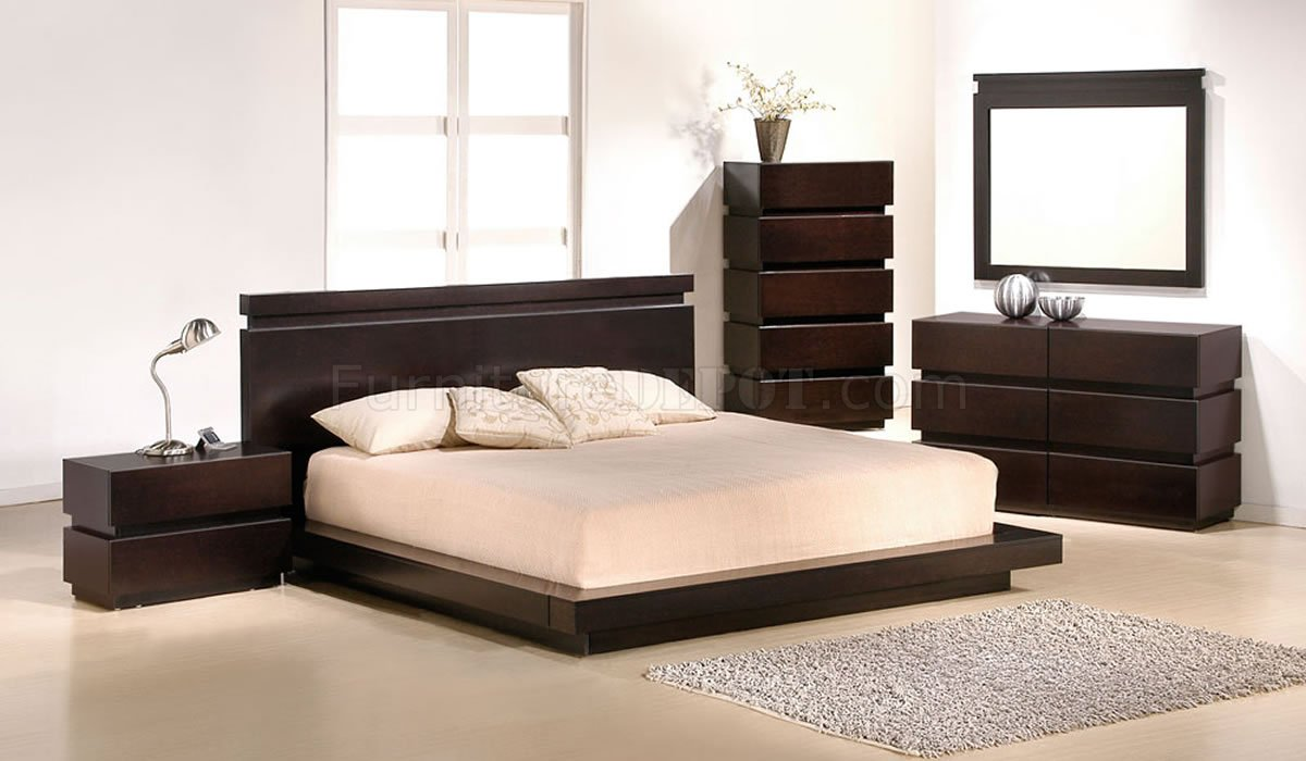 Modern platform bedroom sets - Cappuccino Finish Contemporary Bedroom W Platform Bed