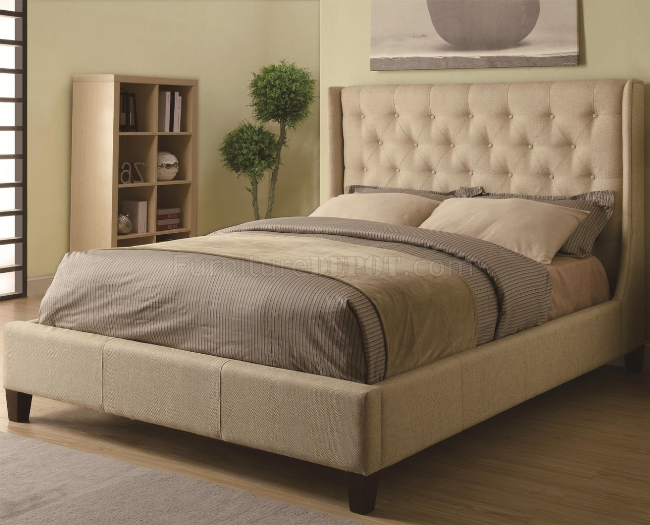 Owen 300332 Upholstered Bed in Tan Fabric by Coaster