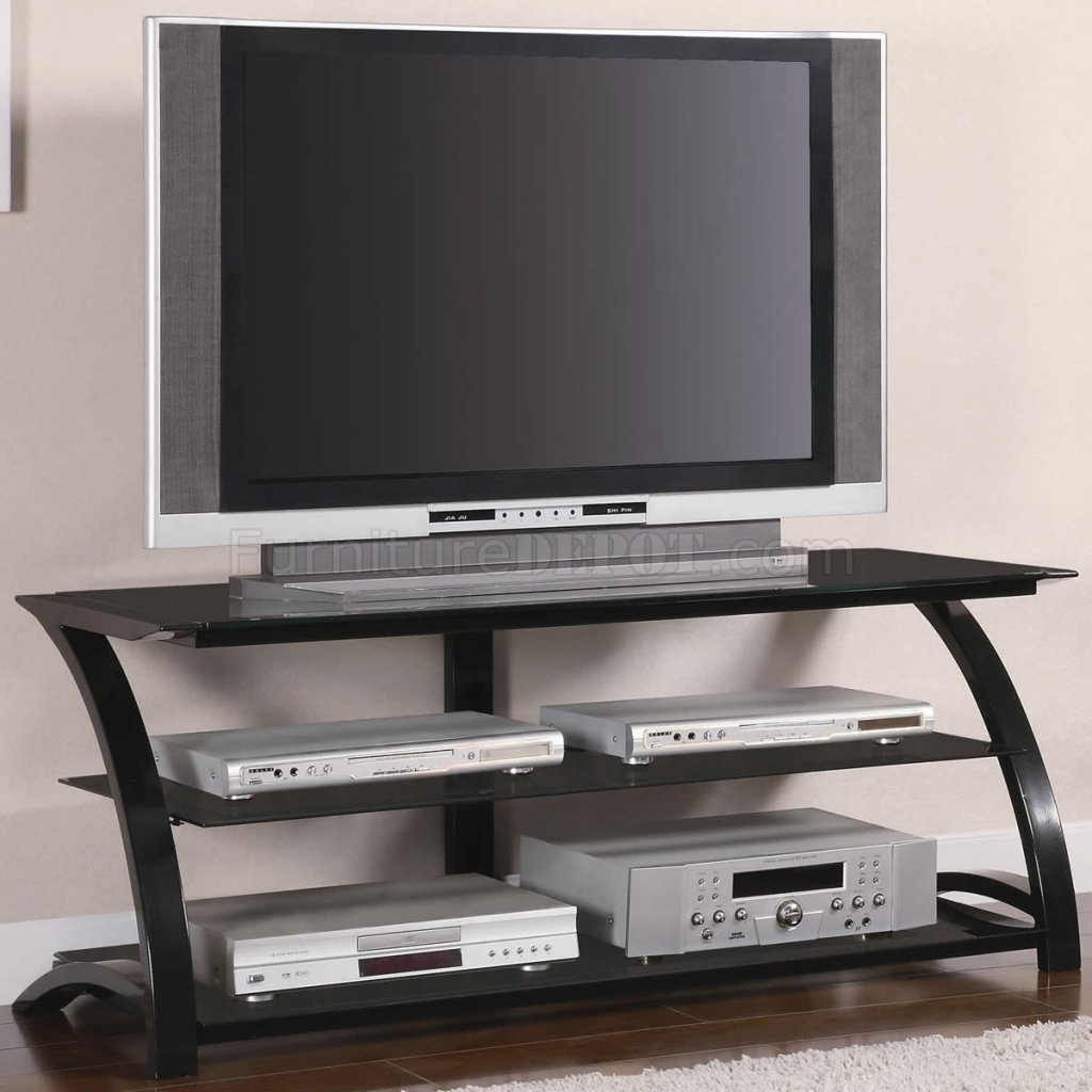 black tempered glass metal base modern tv stand w shelves. Black Bedroom Furniture Sets. Home Design Ideas
