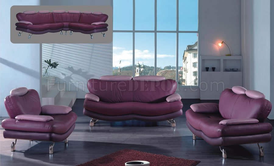 Multitonal purple leather living room sofa w options for Purple living room furniture