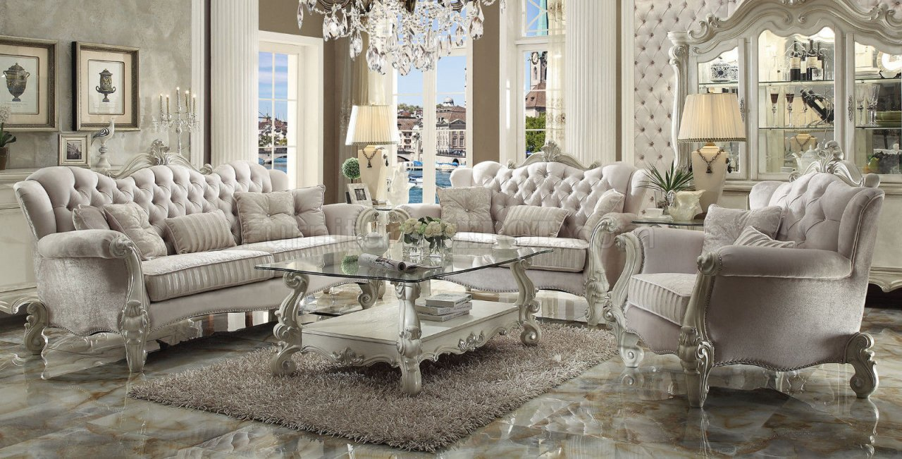 ivory living room furniture. Versailles 52105 Sofa in Ivory Fabric by Acme w Optional Items ACME