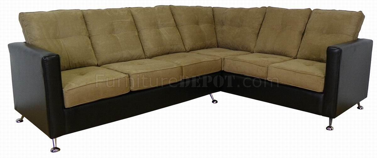 Mocha Fabric Amp Black Vinyl Modern Sectional Sofa