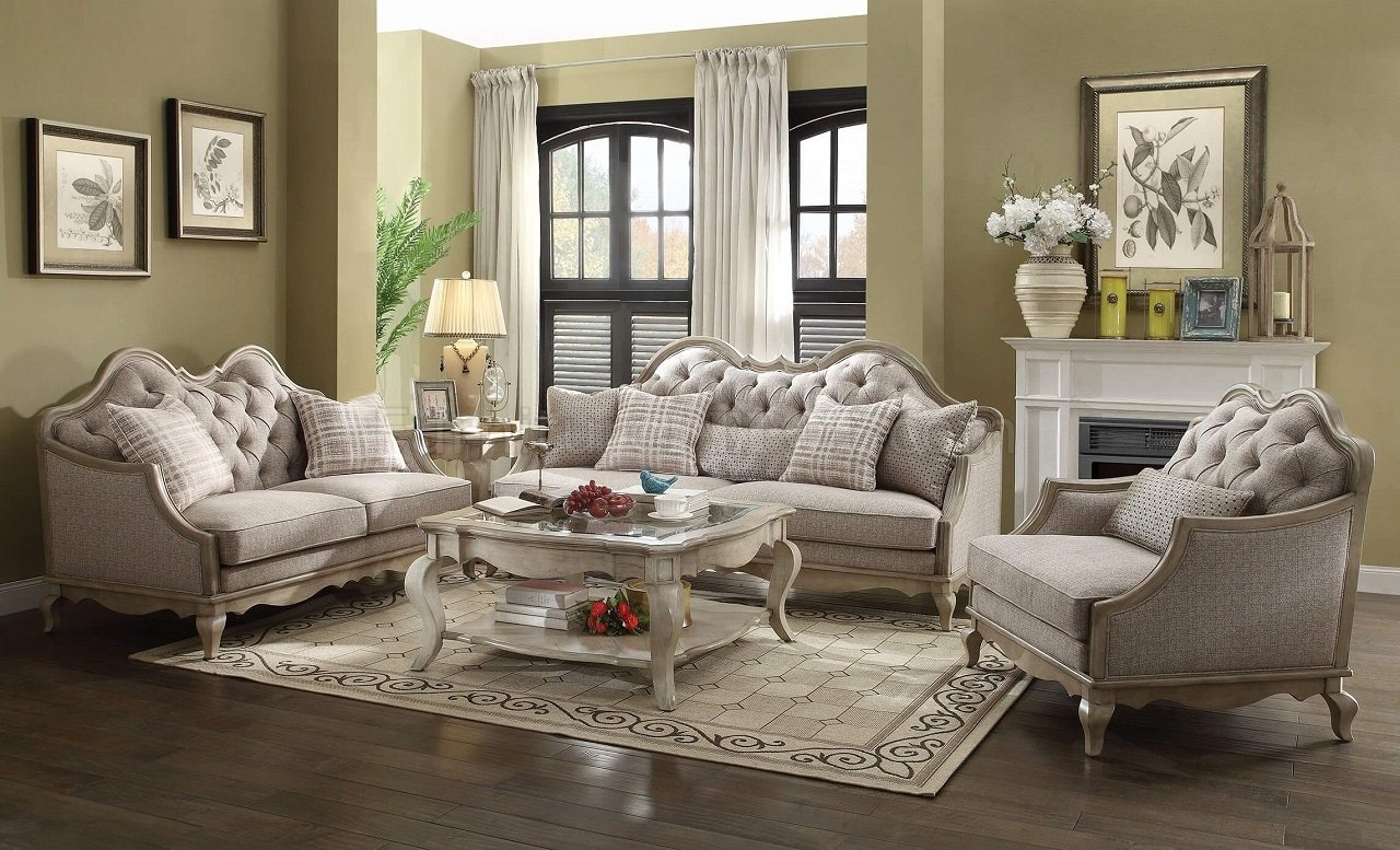 Chelmsford 56050 sofa in antique taupe beige fabric by acme - Wohnzimmer taupe ...