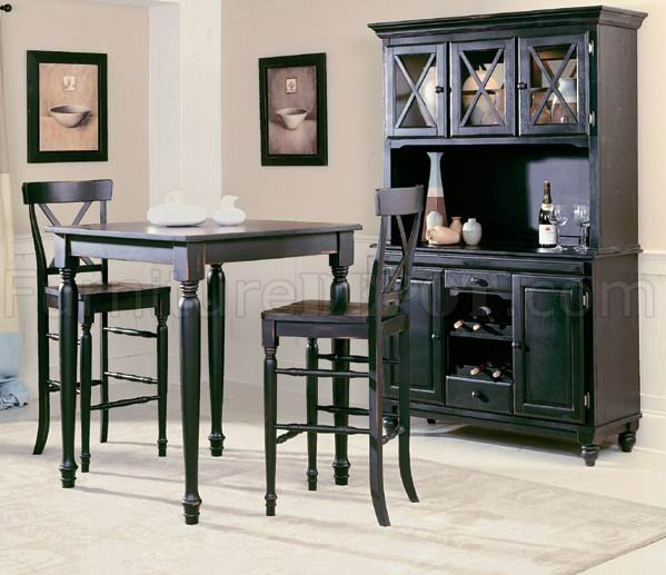 black modern 5pc pub dinette set w optional buffet with hutch heds 715