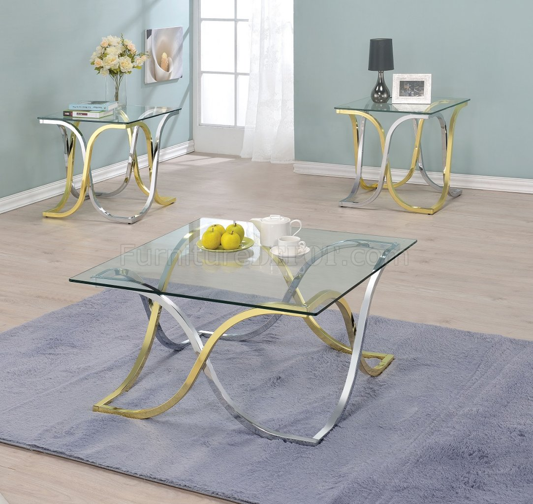 Eadoin 82220 3Pc Coffee Table Set In Chrome/Brass Tones By