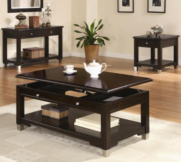 Rich Dark Brown Walnut Finish Modern Coffee Table W Options