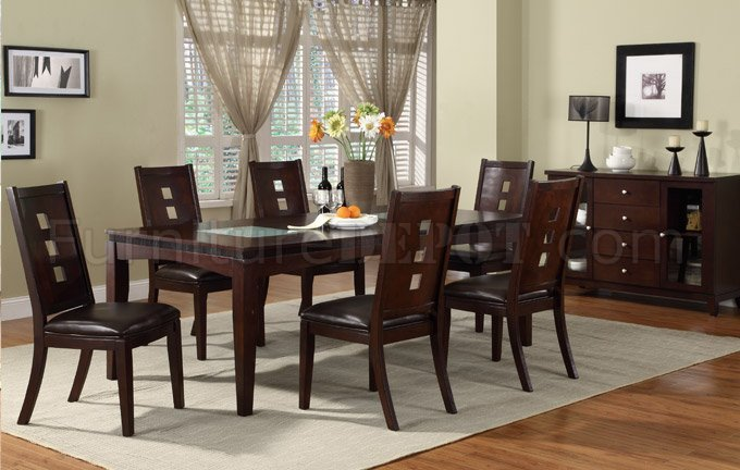 2165 Dining Table W Glass In Dark Brown By Poundex