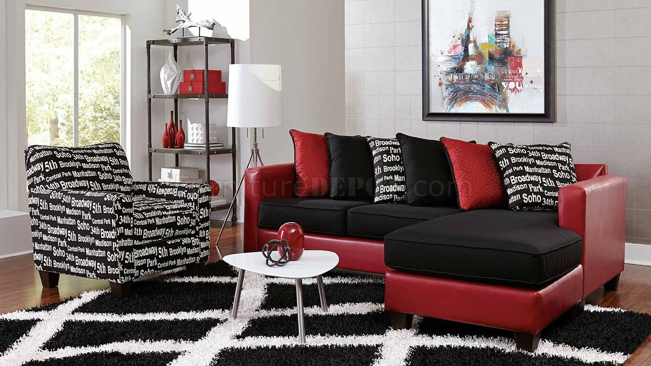 3006 Sectional Sofa In Red Bicast Amp Black Microfiber