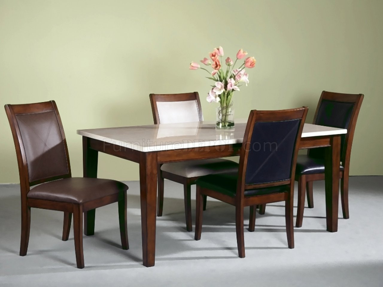 Light Marble Top Modern Dining Table W/Optional Chairs
