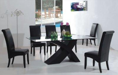 Glass Table Dining Room Sets on 7pc Modern Dining Room Set W Black  X  Shape Legs   Glass Top   Modern