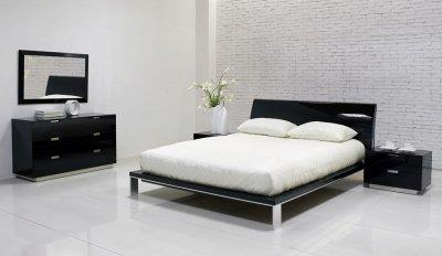 Bedroom Furniture Black High Gloss Finish Contemporary Bedroom ...