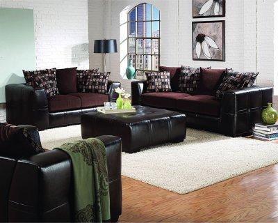 Furniture Living Room Sets on Living Room Furniture Brown Chenille Living Room With Dark Brown Vinyl