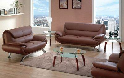 Living Room Furniture Contemporary on Living Room Furniture Brown Leather Contemporary Living Room With