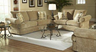 Camel Chenille Traditional Living Room Sofa W Rolled Arms
