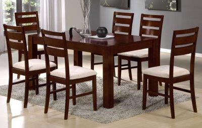 Dark Cherry Solid Finish Modern Formal Dining Room wOptions