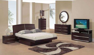 Bedroom Sets  Storage on Semi Gloss Finish Modern Bedroom Set W Storage   Furniture Clue