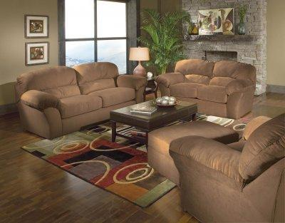 Living Room Chairs on Mircro Suede Casual Living Room W Sewn On Arm Pillows   Furniture Clue