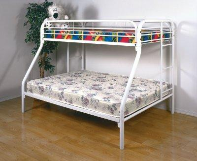 Bedroom Furniture Bunk Beds on White Finish Contemporary Twin Full Bunk Bed W Built In Ladders