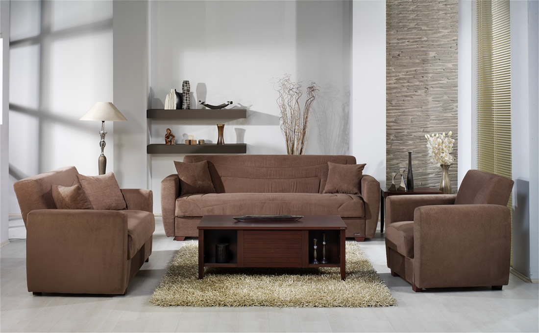 509 ELEGANT TRUFFLE MICROFIBER LIVING ROOM WITH STORAGE SLEEPER S 888 505