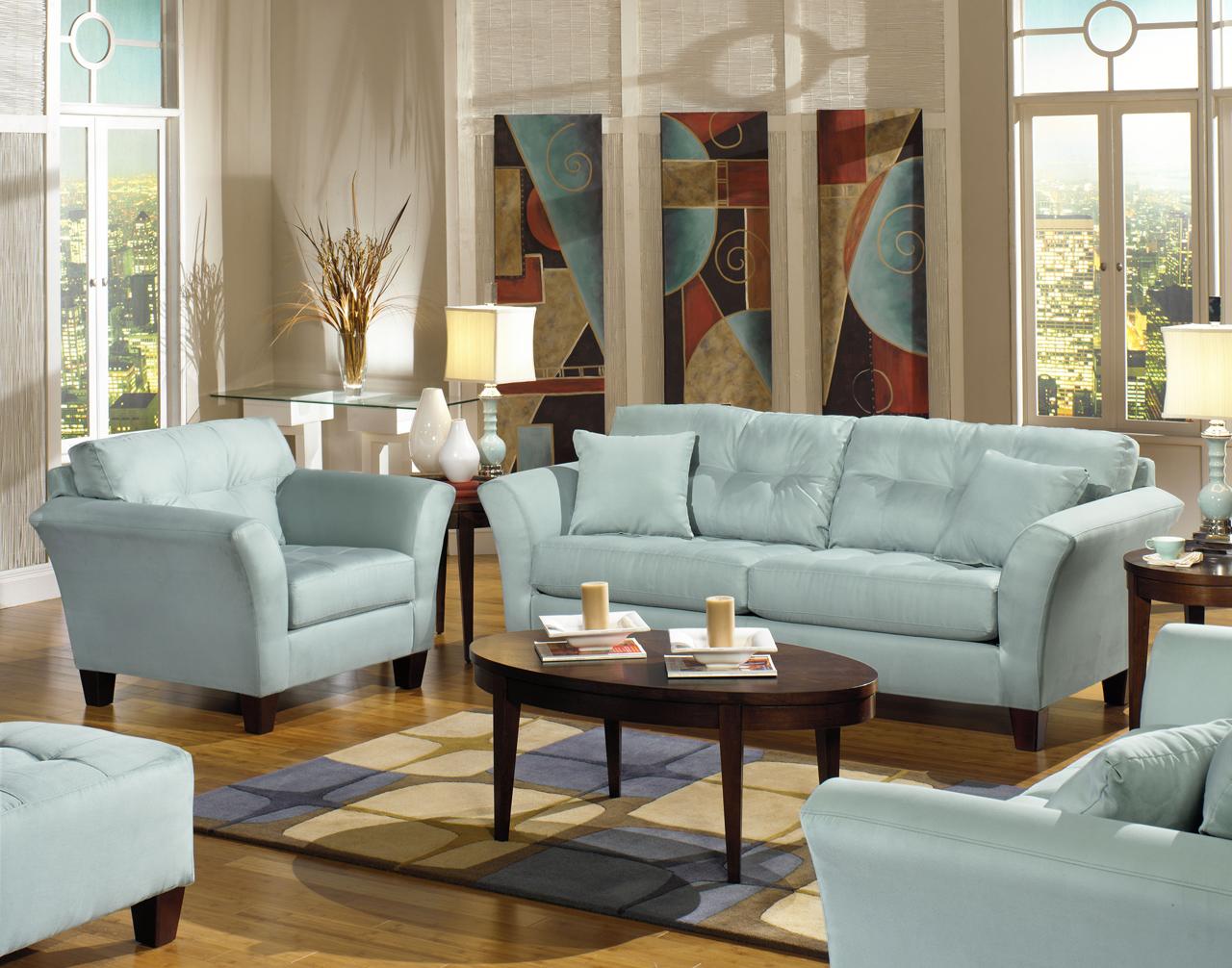 Light Blue Couch : Furniture > Living Room Furniture > Sofa > Riviera Sofa